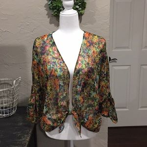 Multi colored sheer tie front shrug.
